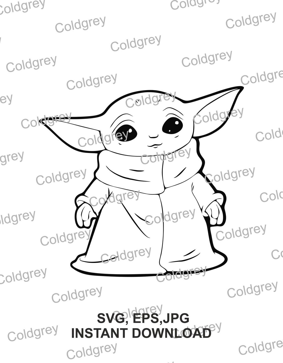 Download Baby Yoda outline SVG EPS JPG Instant download for cricut ...