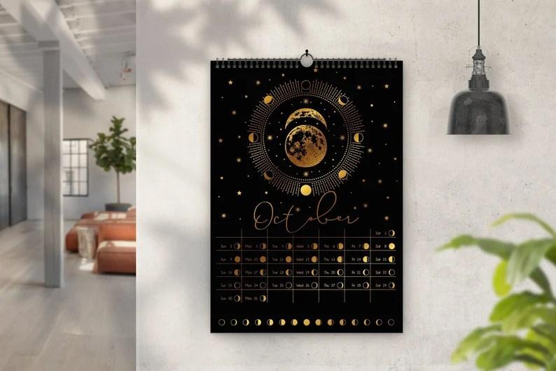 Moon Phases calendar 2022 Lunar Cycle art Original wall image 0