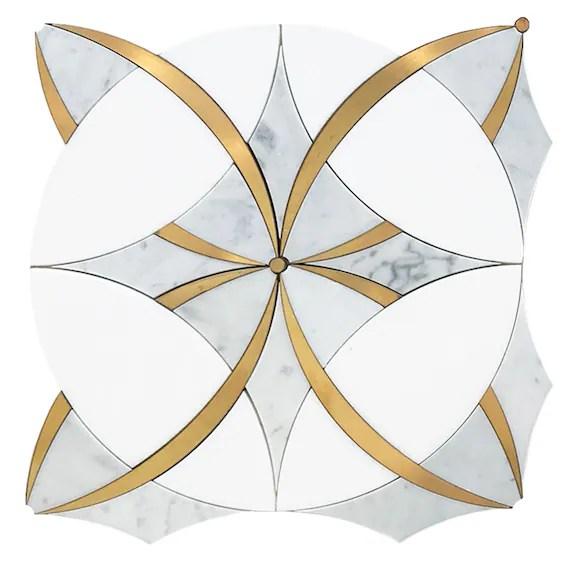 marble brass ring tile
