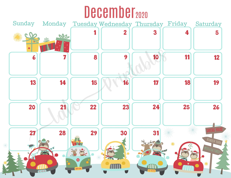 December 2020 Christmas Bears in Cars Calendar Printable ...