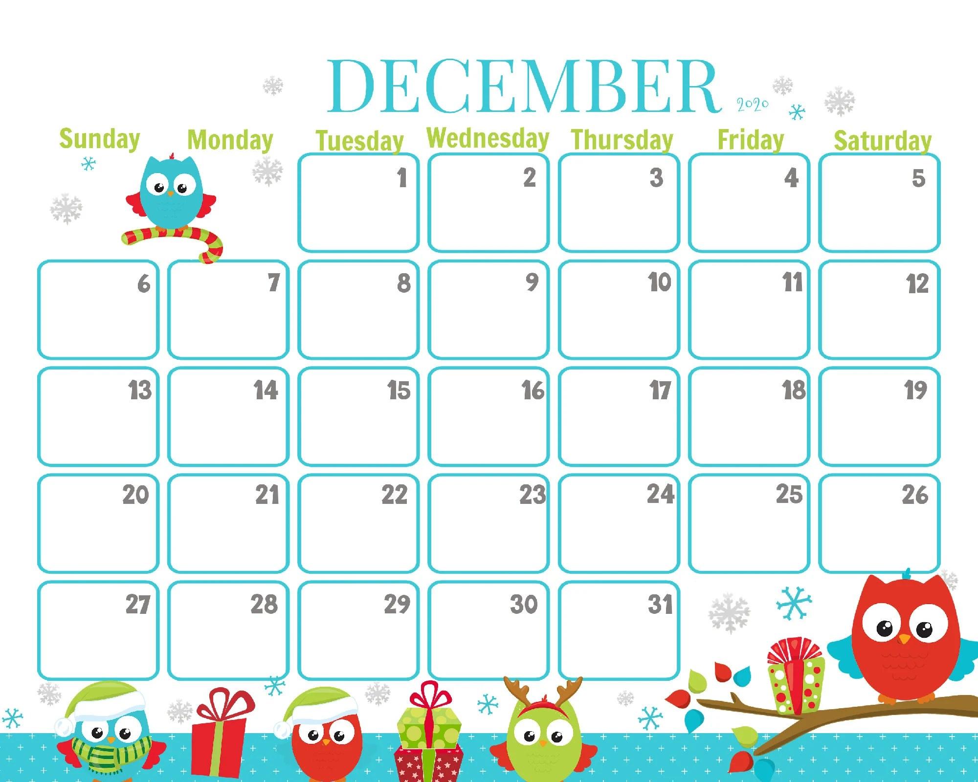 December 2020 Christmas Owls Calendar Printable Christmas ...