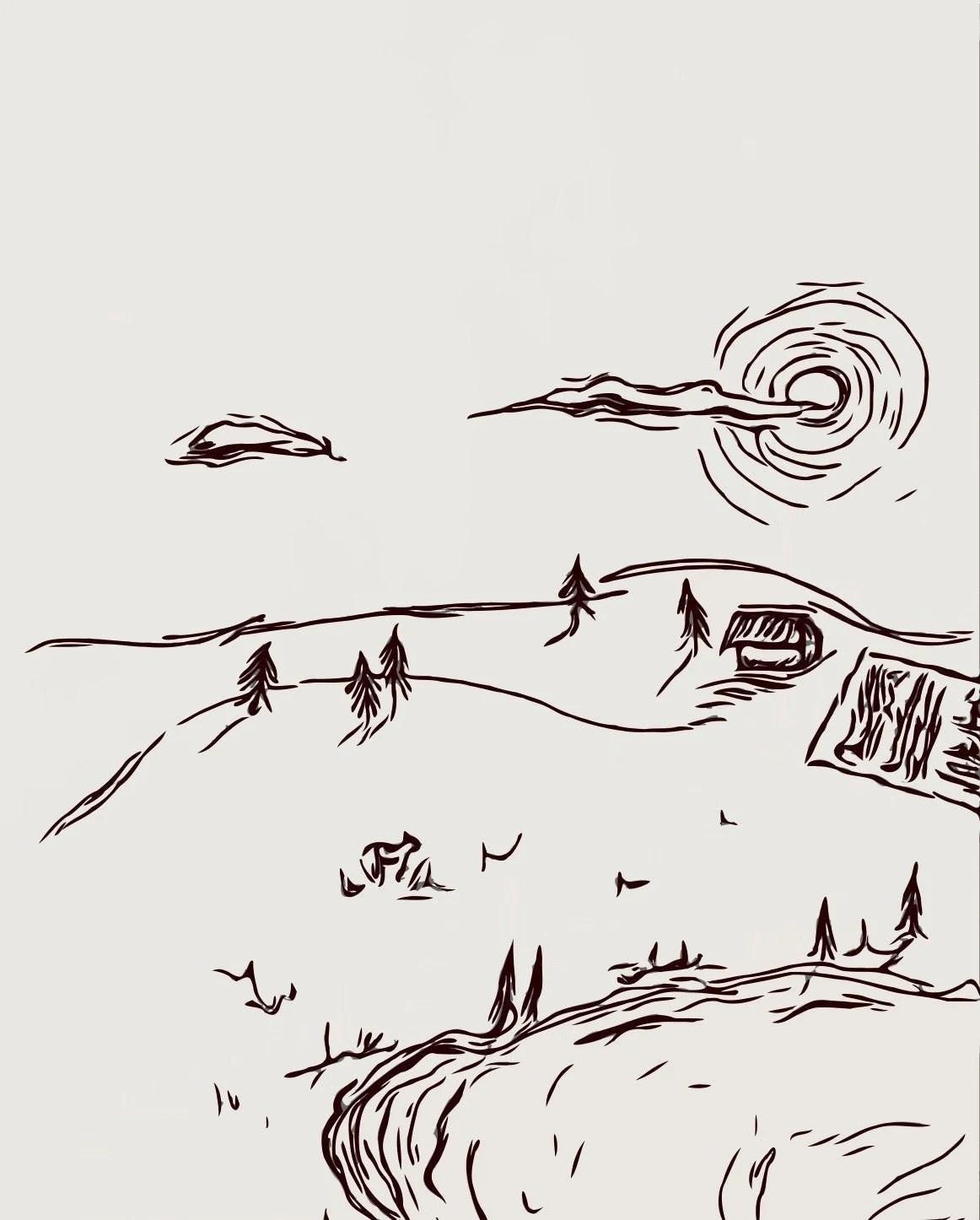 Rolling Hills Drawing : rolling, hills, drawing, Rolling, Hills, Wilderness, 4x5.3