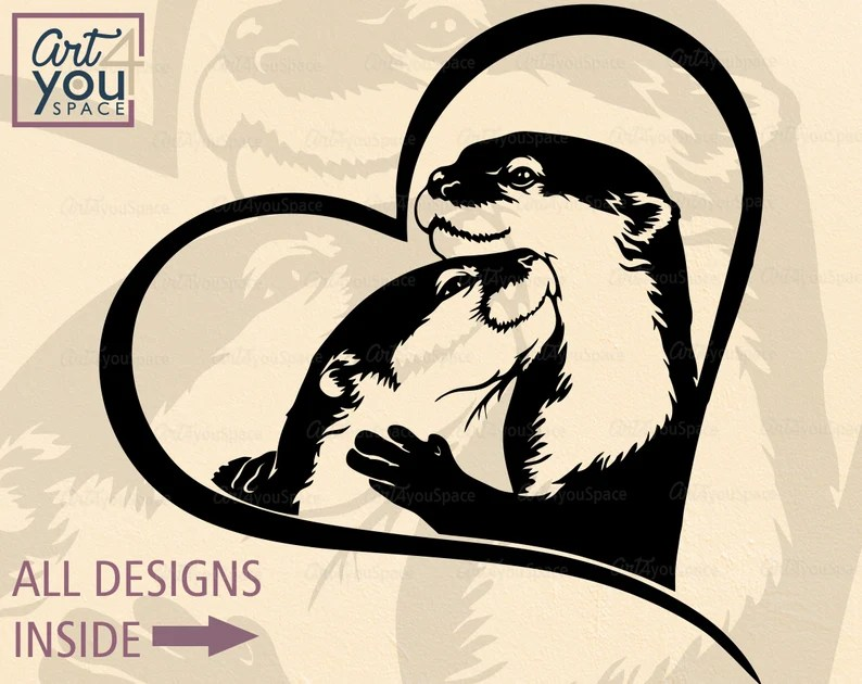 Download Cute otter love svg animal dxf Cricut couple Clipart laser ...
