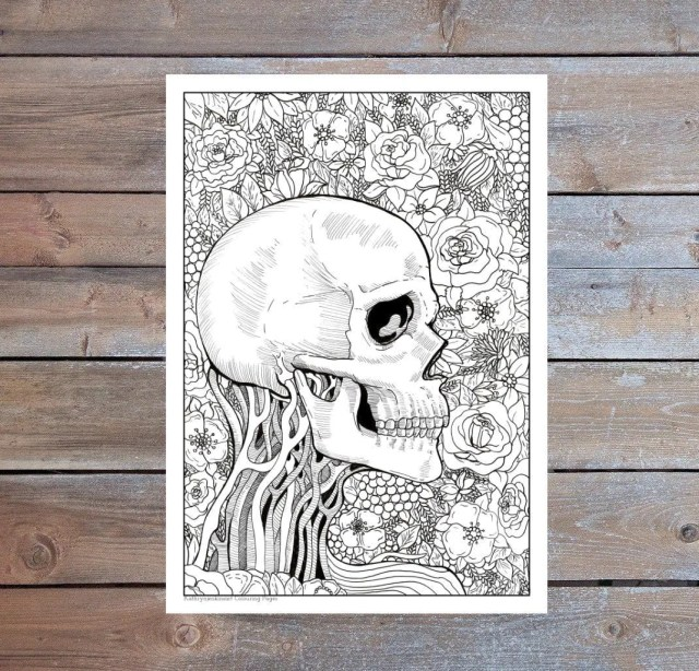 Gothic Skull Coloring Page for Adults Bark Queen Flower  Etsy