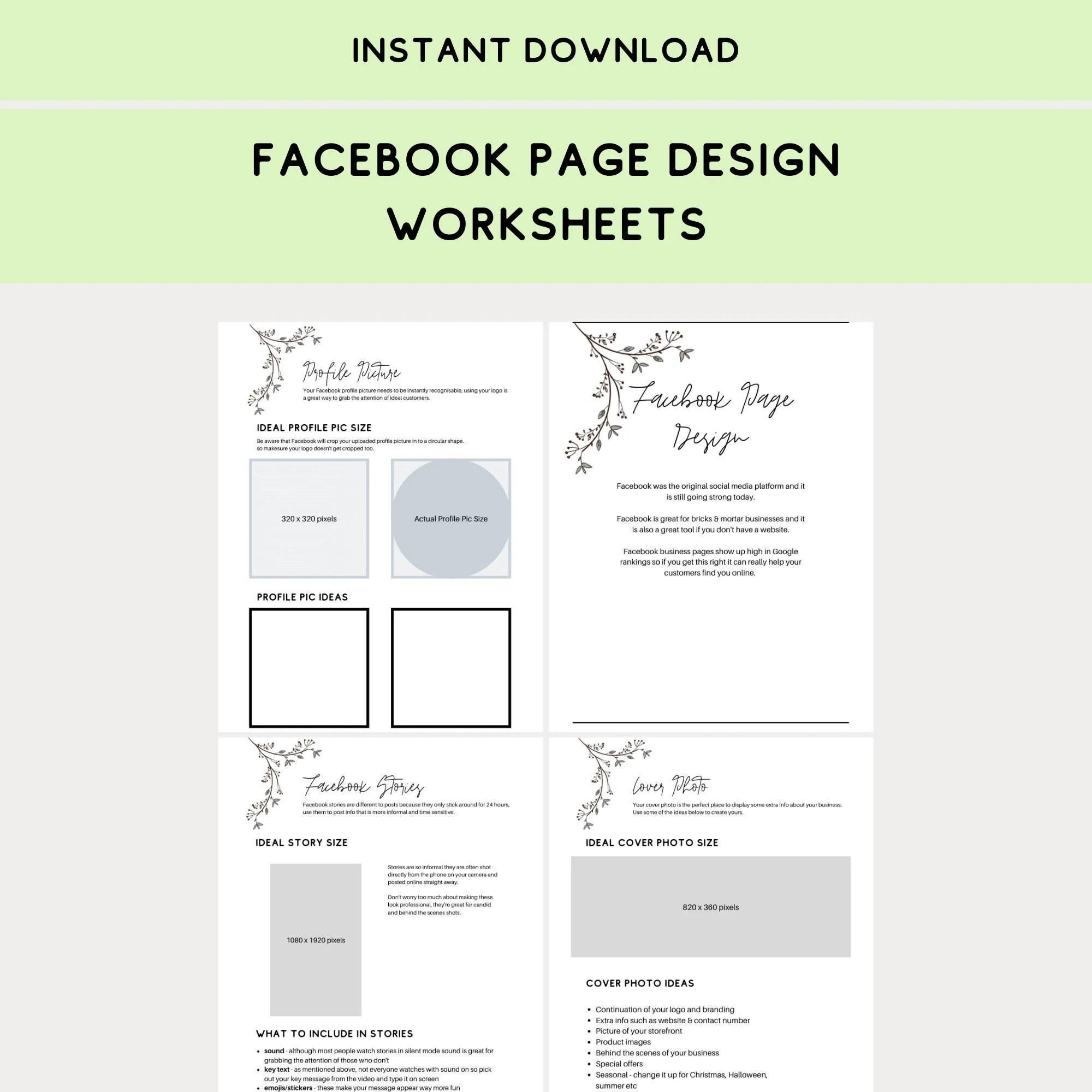 Facebook Page Design Worksheets
