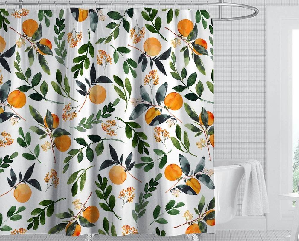 orange shower curtain etsy