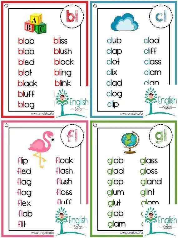 Consonant Blends Word List Pdf : consonant, blends, Phonics, Lists, Consonant, Blends
