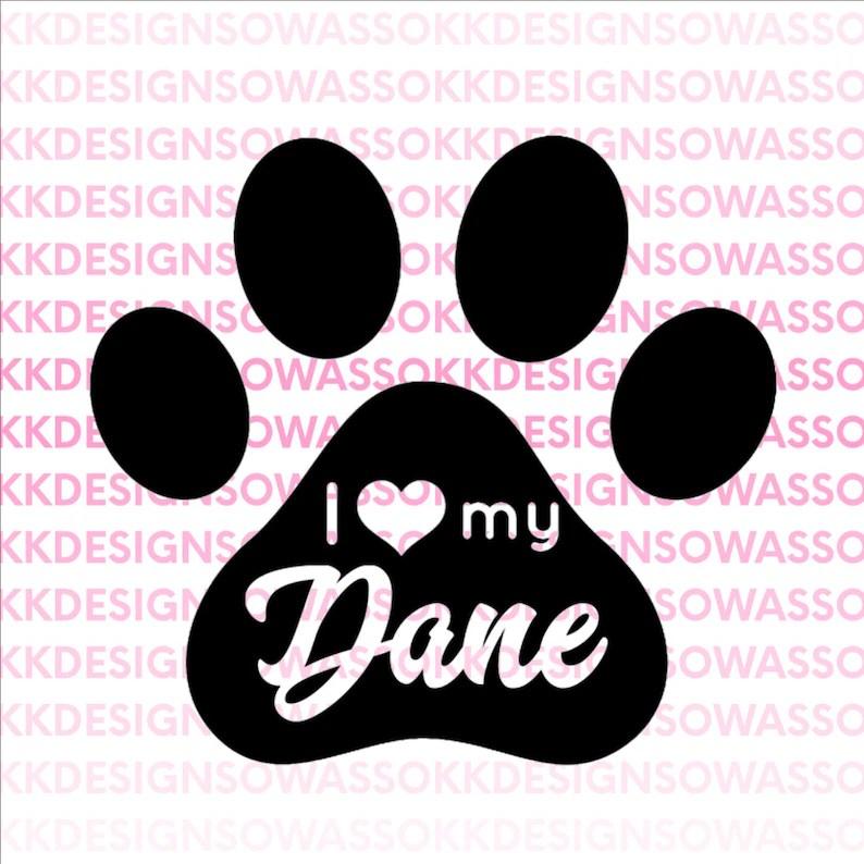 Download I love my dog dane great dane heart paw pet SVG JPG PNG | Etsy
