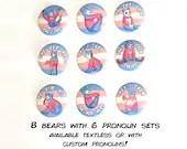 Trans Pride Bears Pronoun Pin Buttons / LGBT Pride