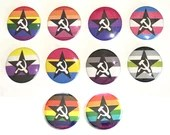 LGBT Pride Flag Hammer and Sickle with Star Pin Button / Leftist Pins