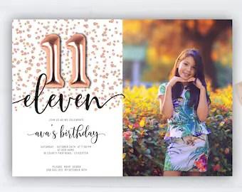 11th birthday invite etsy