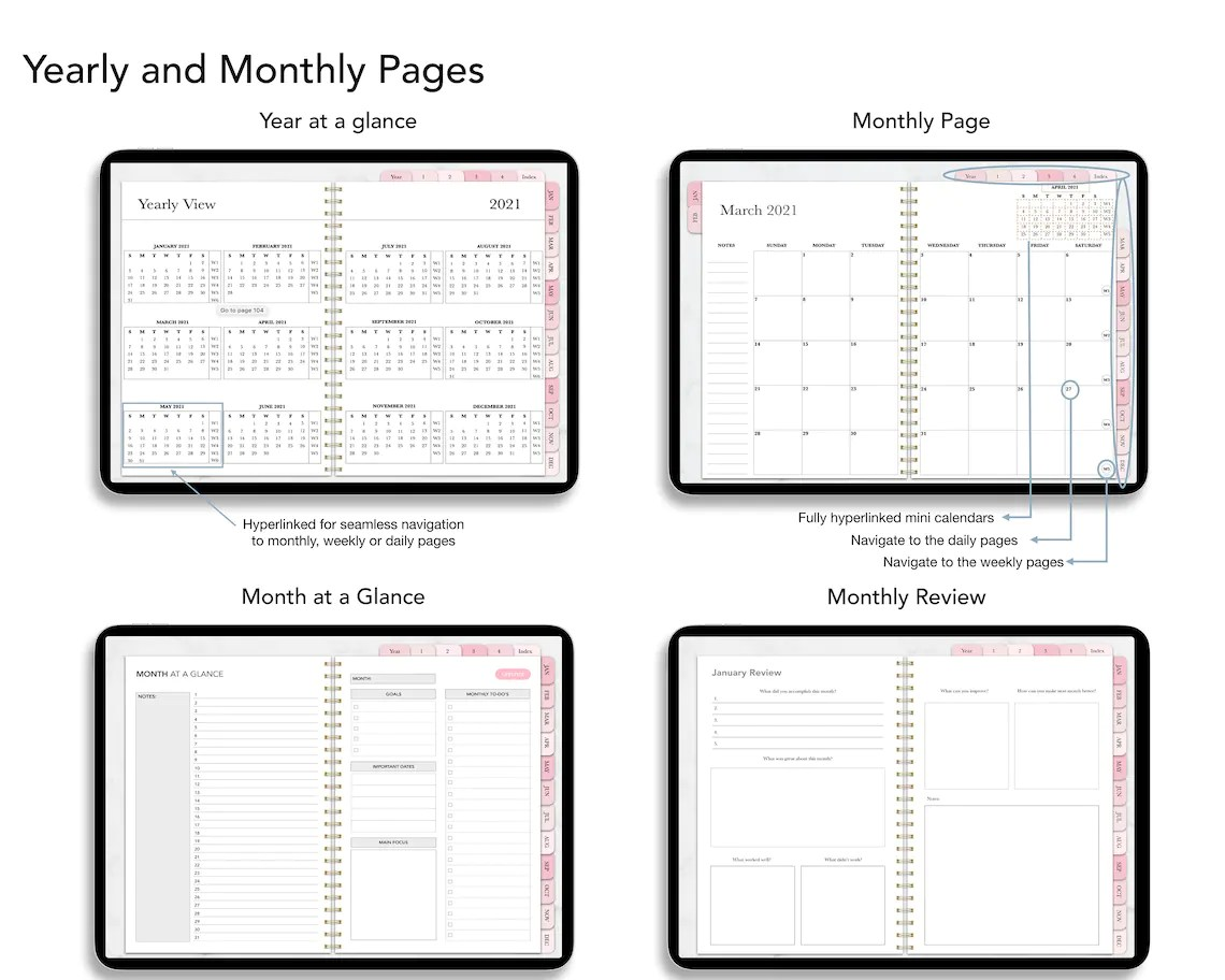 Digital Planner Goodnotes Daily Planner IPad Planner Dated