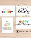 Set Of 4 Printable Birthday Cards Happy Birthday Card Etsy