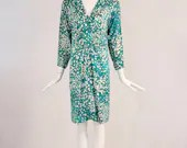 Vintage 1980s Helga Polka Dot Dress, Vintage Green and White Polka Dot Dress