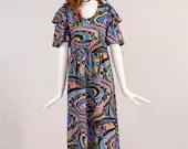 Vintage 1970s Paisley Maxi Dress, Rare Vintage Paisley Dress with Ruffled Sleeves, Paisley Maxi Dress