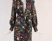 Vintage 1960s Floral and Polka Dot Long Sleeve Dress, Bow Tie Belted Floral Dress, 60s Floral Belted & Collared Dress