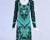 Vintage 1970s De Parisini Silk Paisley Dress, Authentic 70s De Parisini Signed Black and Green Paisley Dress