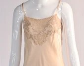 Vintage 1930's Silk Slip Dress with Lace Detail