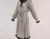 Vintage 1970s Zandra Rhodes Striped Long Sleeve Dress, Authentic Zandra Rhodes Vintage Dress, 1970s Pleated Collar Dress