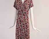Authentic 1940s Floral Vintage Dress, Pink and Purple Floral Paisley Dress, 1940s Collared Paisley Dress, True Vintage 1940s Paisley Dress