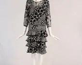 Vintage Giraffe Print Four Tiered Dress, 1980s Four Tiered Ruffle Dress, Giraffe Print Lurex Midi Dress
