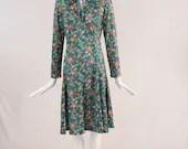 Vintage 1970s Casual Maker Floral Dress, Vintage Botanical Floral Polyester Dress