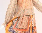 Rare 1970s Dalani II Handkerchief Dress, 1970s Bohemian Floral Patchwork Maxi Dress, Floral Layered Maxi Dress, Vintage Prairie Maxi Dress