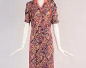 Rare 1940s Pink and Purple Pleated Paisley Dress, Vintage Collared Paisley Dress, 1940s Button Up Pleated Midi Dress