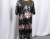 Vintage Colorblock Black and Pink Sequin Dress, Black Sequin T Shirt Dress