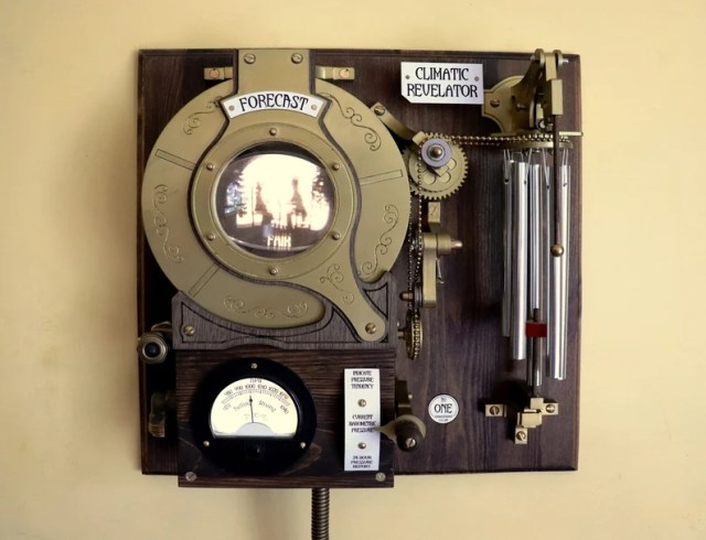 Steampunk Inventions By John Bunce. The Climatic Revelator Working Steampunk Weather Forecast Machine