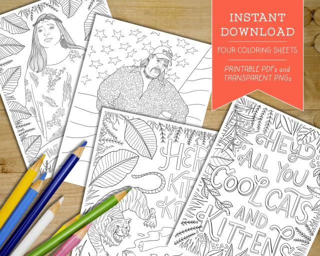 Printable Tiger King Coloring Sheets - Digital Joe Exotic Adult Coloring  Pages - Carole Baskin Coloring Book Download