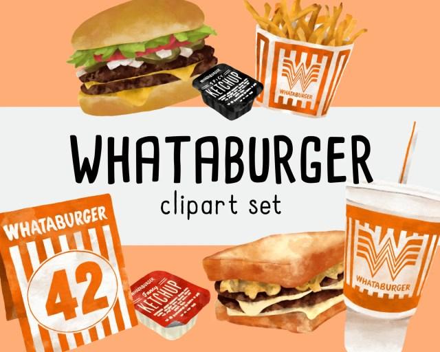 Whataburger Clipart Set  Printable Clip Art  Digital Download Fast Food  Illustrations