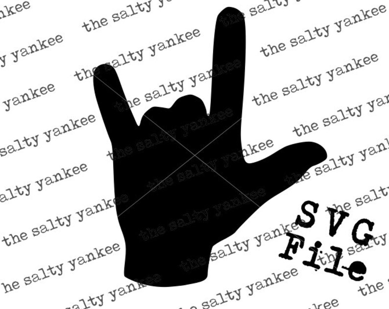 Download ASL Sign Language I Love You Silhouette Clipart SVG Vector ...