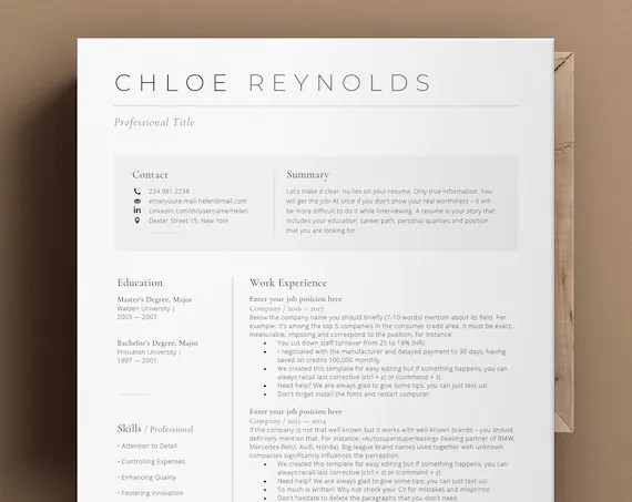 In this guide, i list 20 top resources about apple resume templates free. Modern Resume Template Apple Pages Ms Word Cv Template With Etsy