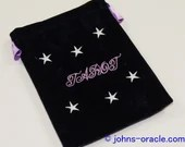 Large Purple Velvet Tarot/Angel Card Bag - Stars & Tarot