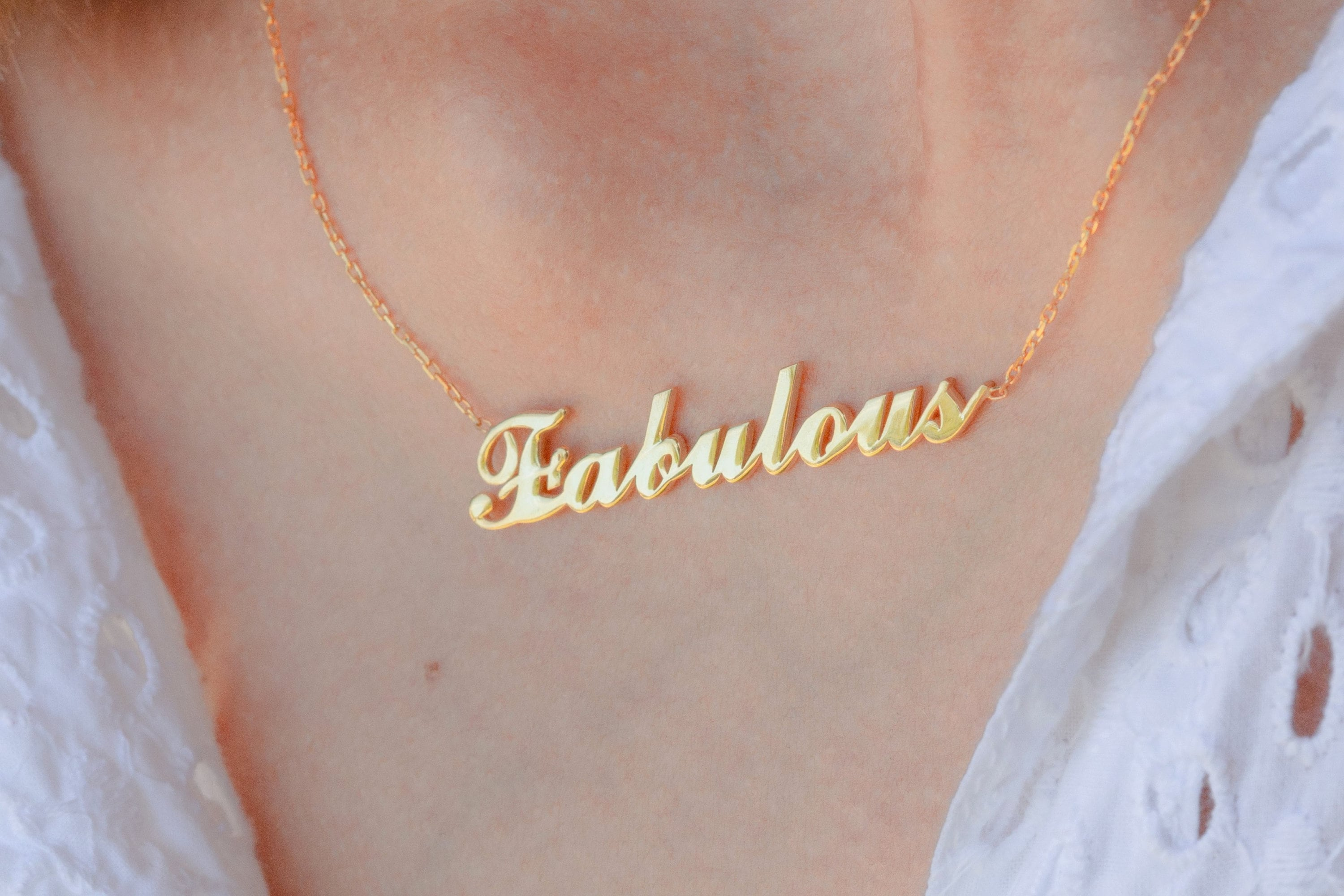 Gold Personalized Word  Custom Name Necklace  Personalized image 2