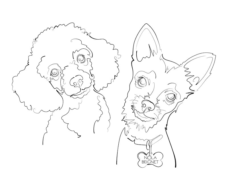 Custom Line Drawing Pet Dog Portrait INK Tattoo Commission