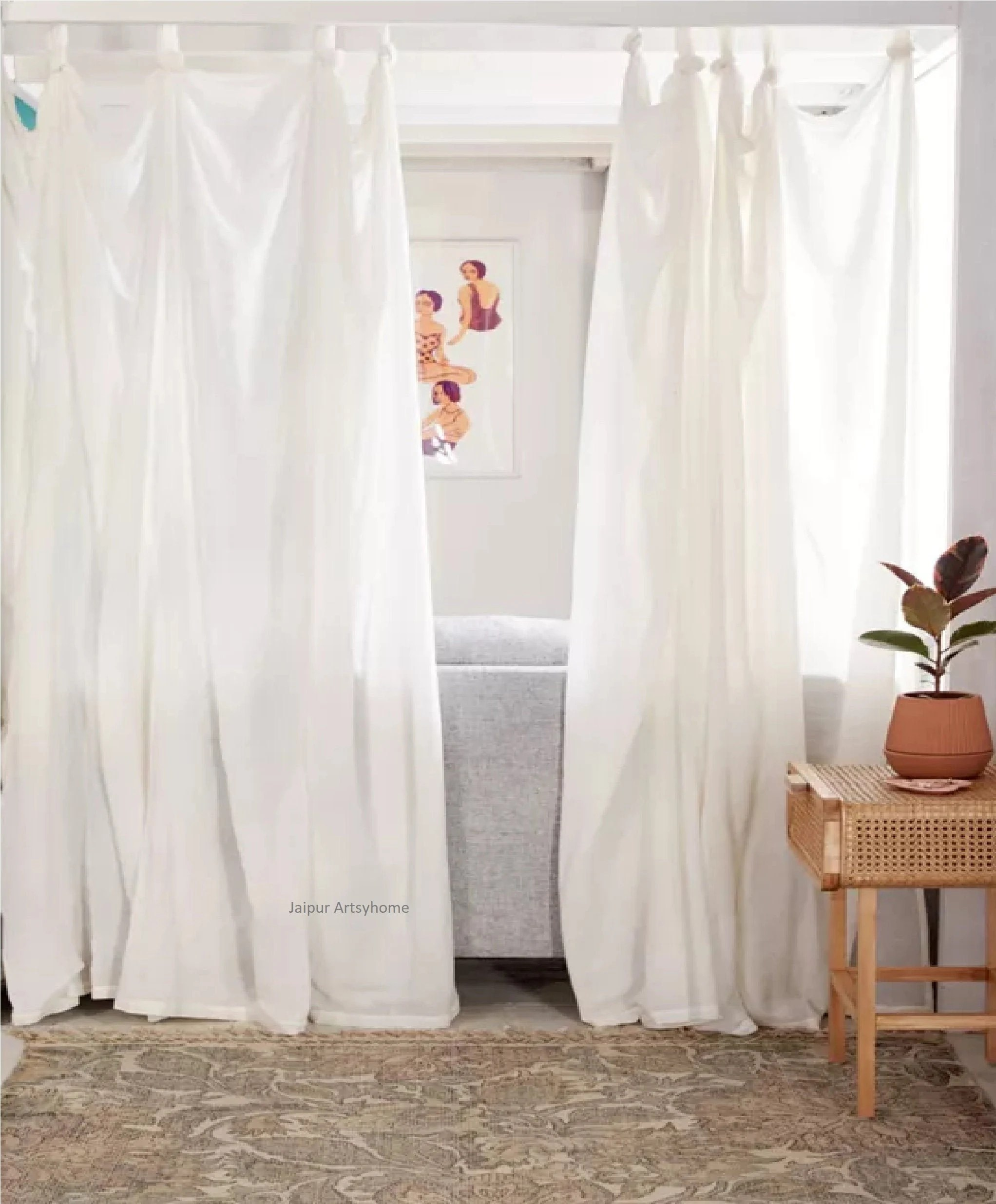 cotton curtains etsy