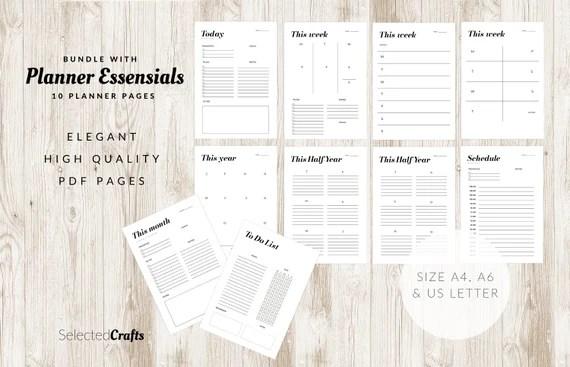 Planner Essential Bundel Printables   Minimal Planner PDF Pages   Digital Download   Minimal Planner   Elegant Pages   Modern Planner