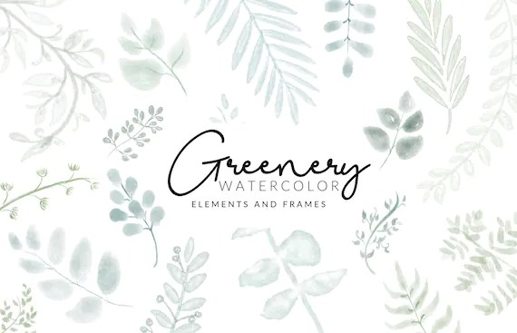 Soft Greenery Watercolor Clipart   Leafs and Stems   Digital Download   Separate Floral PNG Elements   Clipart Frames   Mint Green Clipart
