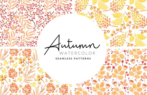 Soft Autumn Seamless Pattern   Watercolor Leafs and Berries   Digital Download   PNG Patterns   Digital Paper   Scrapbook Paper