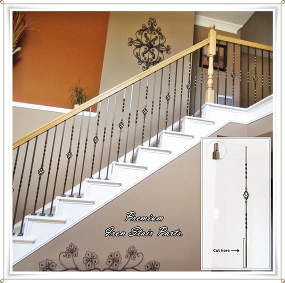 Stair Railing Parts Iron Balusters Iron Spindles Staircase Etsy | Shoe Rail For Iron Balusters | Modern | Oak | Slides | Cast Iron | Remodel