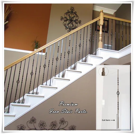 Iron Balusters Iron Stair Parts Iron Stair Railing Parts Etsy   Stair Rails And Spindles   Dark   Restaining   Modern   Spiral   Glass