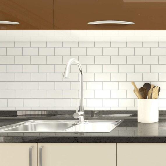 peel and stick subway tile backsplash for kitchen gray grout etsy