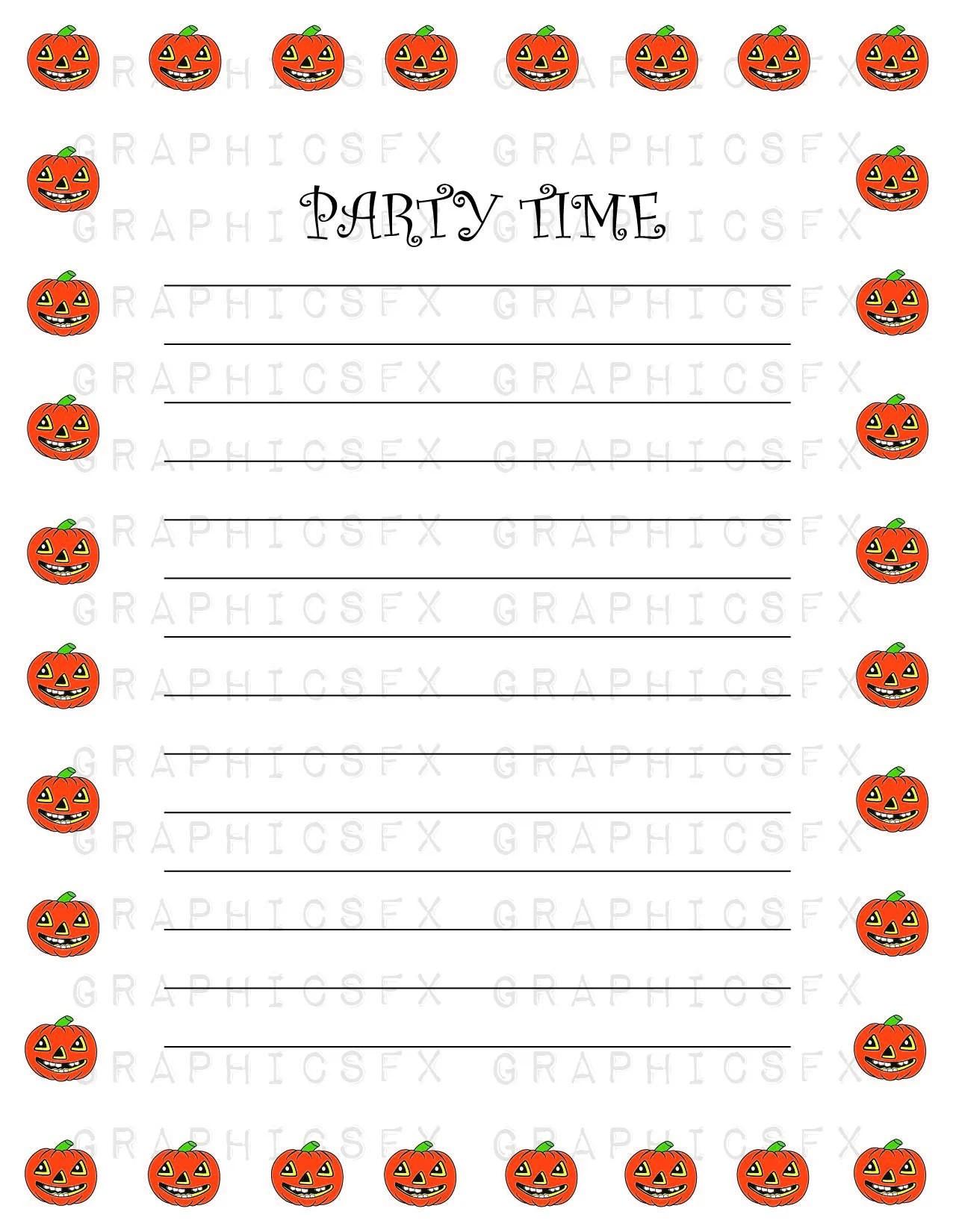Halloween Party List Border With Jackolanterns Design 002 Use Etsy