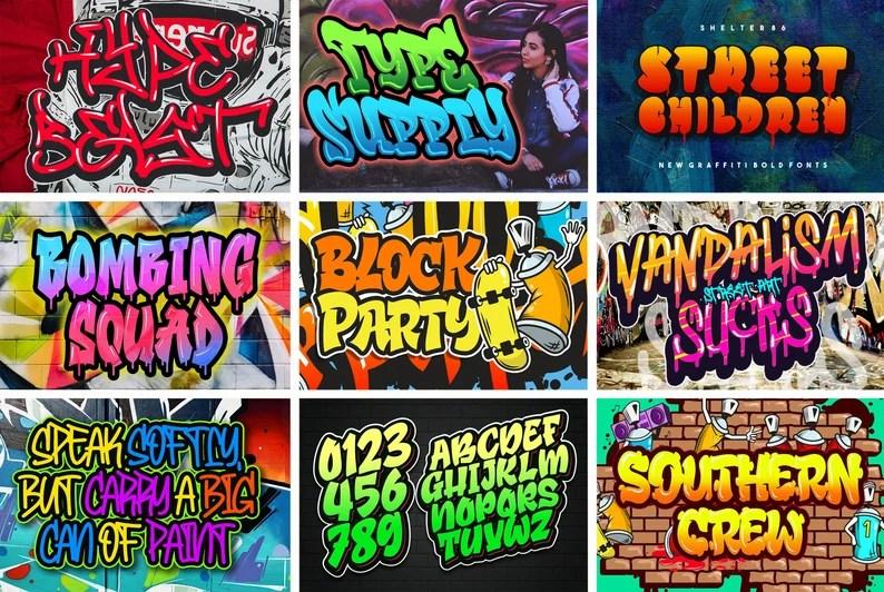Download 152 Graffiti fonts Pack Instant Digital Download | Etsy