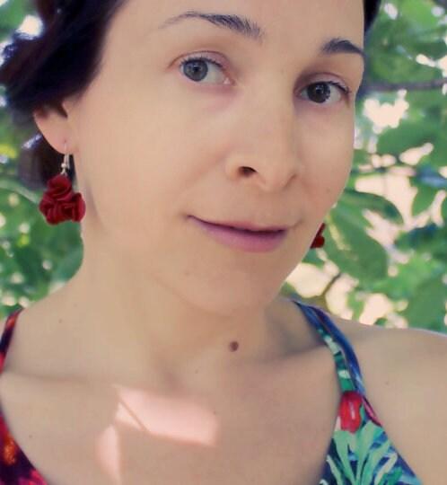 Burgundy/Marsala Red Roses Dangling Earrings S.Valentine / image 7