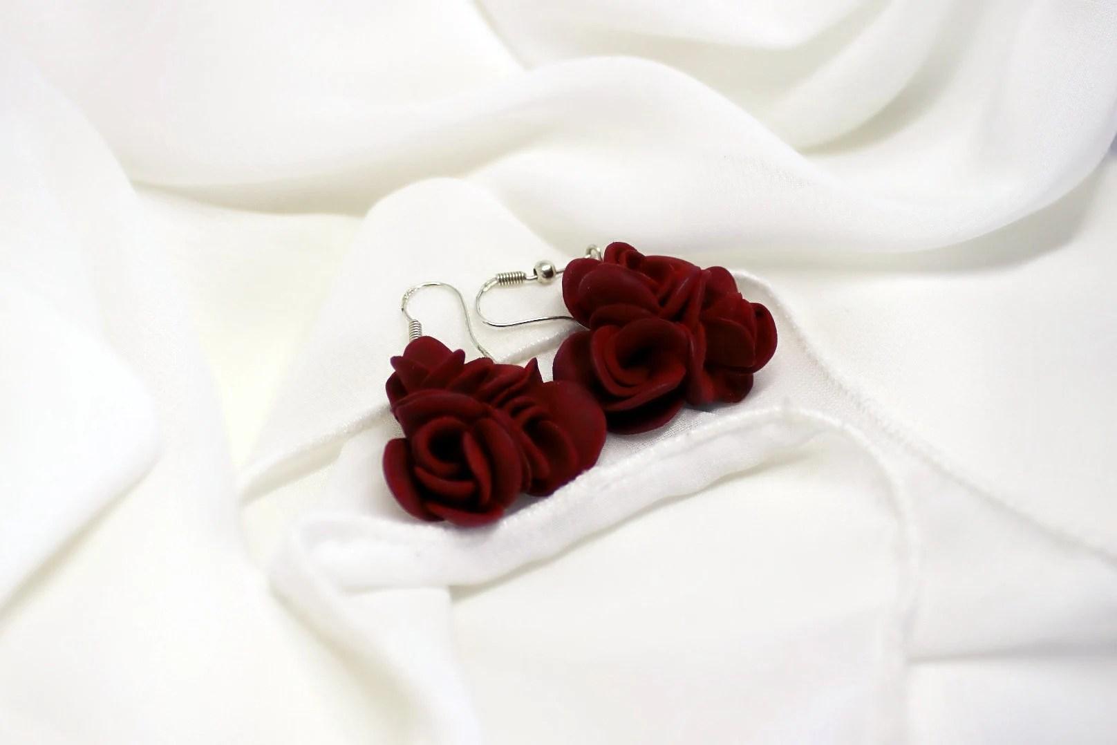 Burgundy/Marsala Red Roses Dangling Earrings S.Valentine / image 4