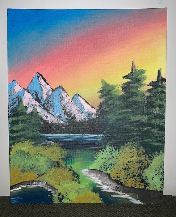 Easy Mountain Sunset Painting : mountain, sunset, painting, Inspired, Nature, Painting, Sunset, Mountain, Scene