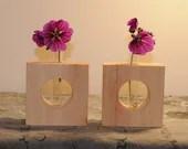 Wooden vase pine